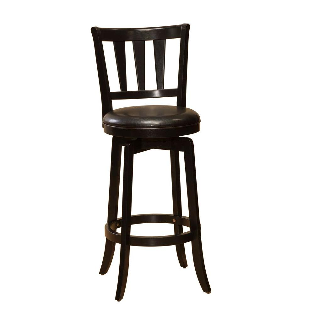 Hillsdale furniture presque isle swivel counter bar stool in black 4478 826 the home depot Home depot wood bar stools