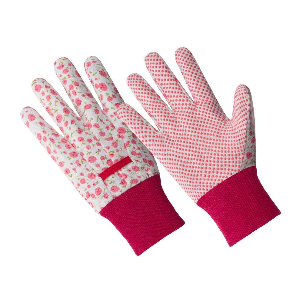 Ladies Small/Medium Pink Flower Poly/Cotton Blend Glove with PVC Dotted Palm and Knit Wrist