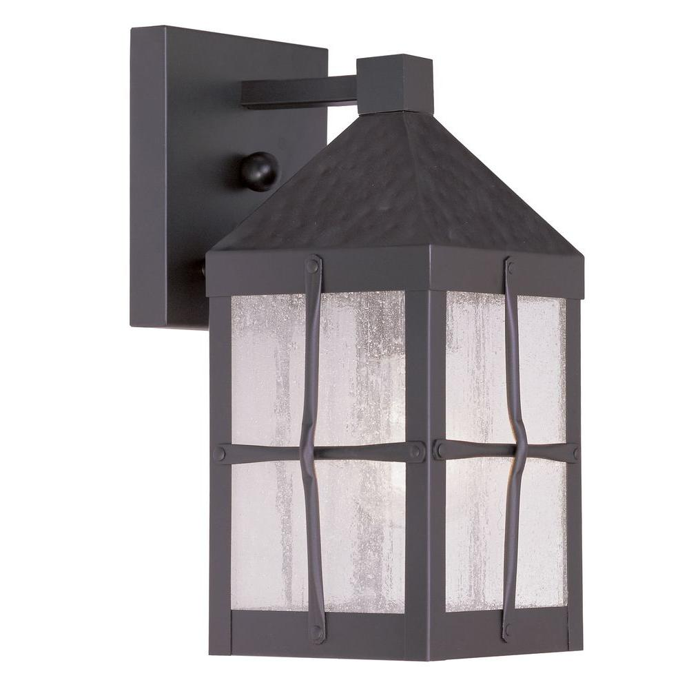 Livex Lighting Providence Wall-Mount 1-Light Outdoor Hammered Bronze