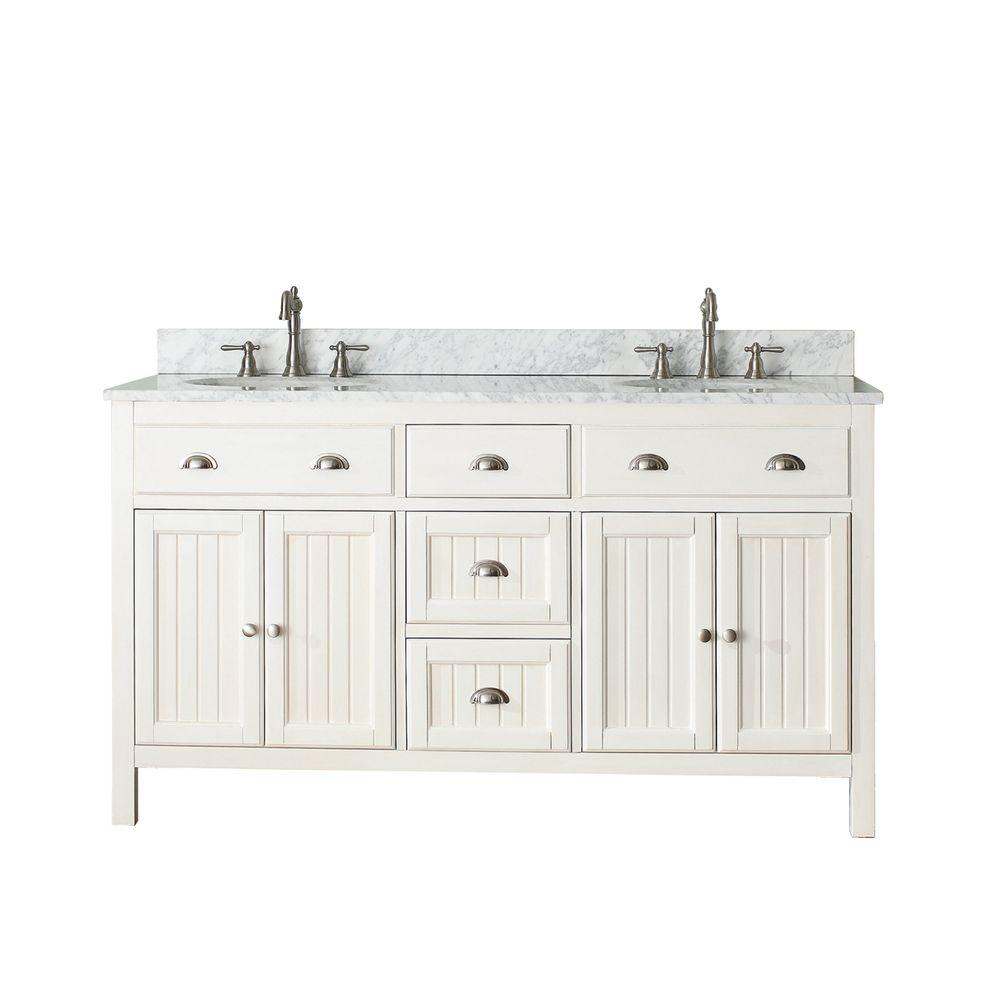 Avanity Hamilton 61 in. W x 22 in. D x 35 in. H Vanity in French White with Marble Vanity Top in Carrera White with White Basin