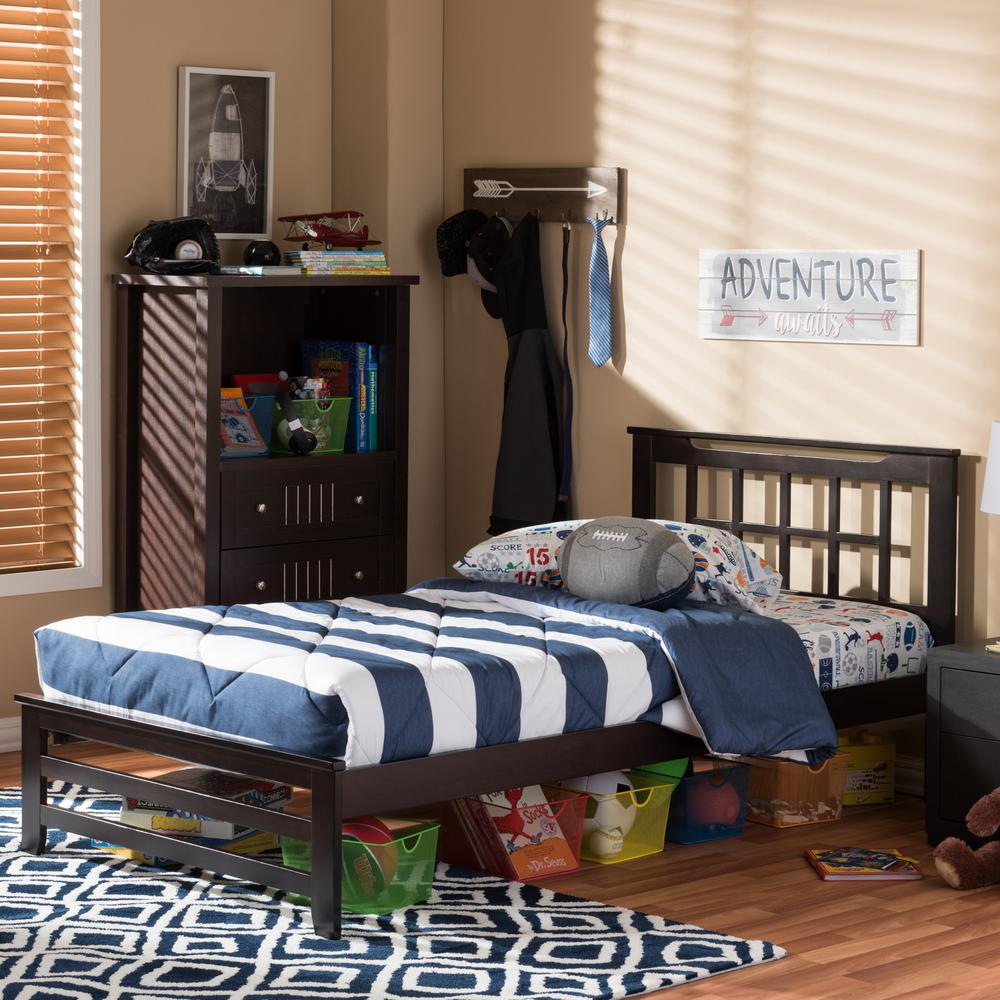 Aperta Contemporary Dark Brown Wood Finish Wood Twin Size Bed
