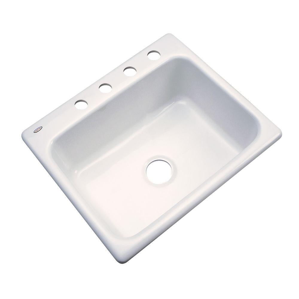 Inverness Drop-In Acrylic 25 in. 4-Hole Single Basin Kitchen Sink in