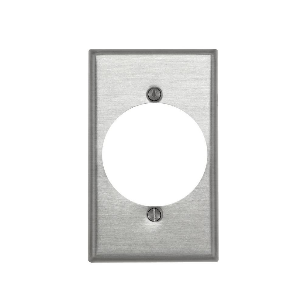 1-Gang Standard Size Power Outlet Aluminum Wallplate with 2.15 in. Dia
