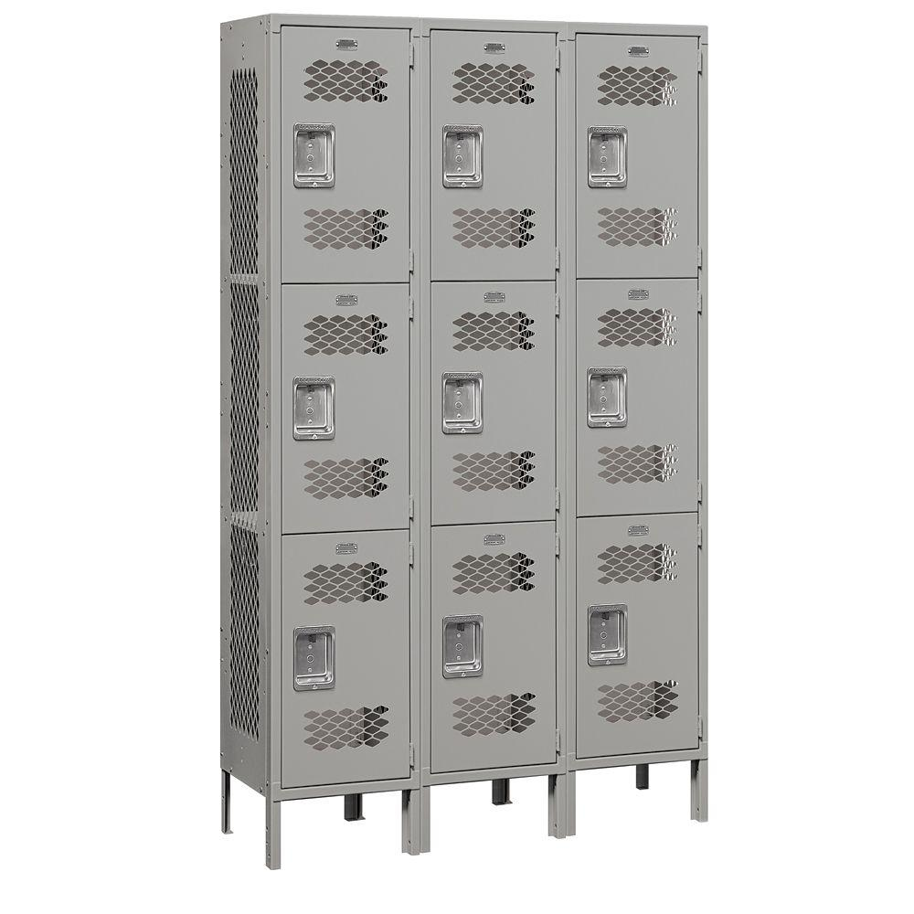Salsbury Industries 83000 Series 45 in. W x 78 in. H x 15 in. D 3-Tier Extra Wide Vented Metal Locker Assembled in Gray