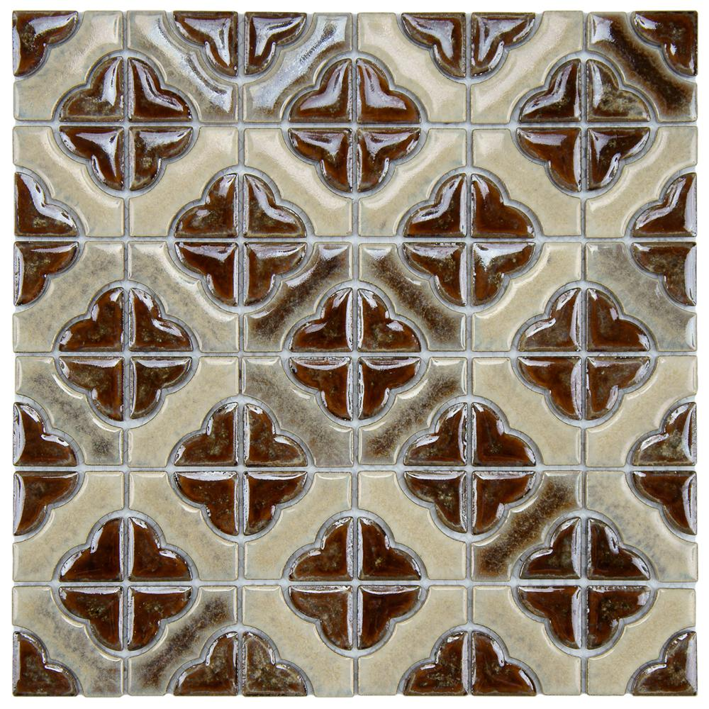 Merola Tile Palace Henna 11-3/4 in. x 11-3/4 in. x 5 mm Porcelain Mosaic Tile
