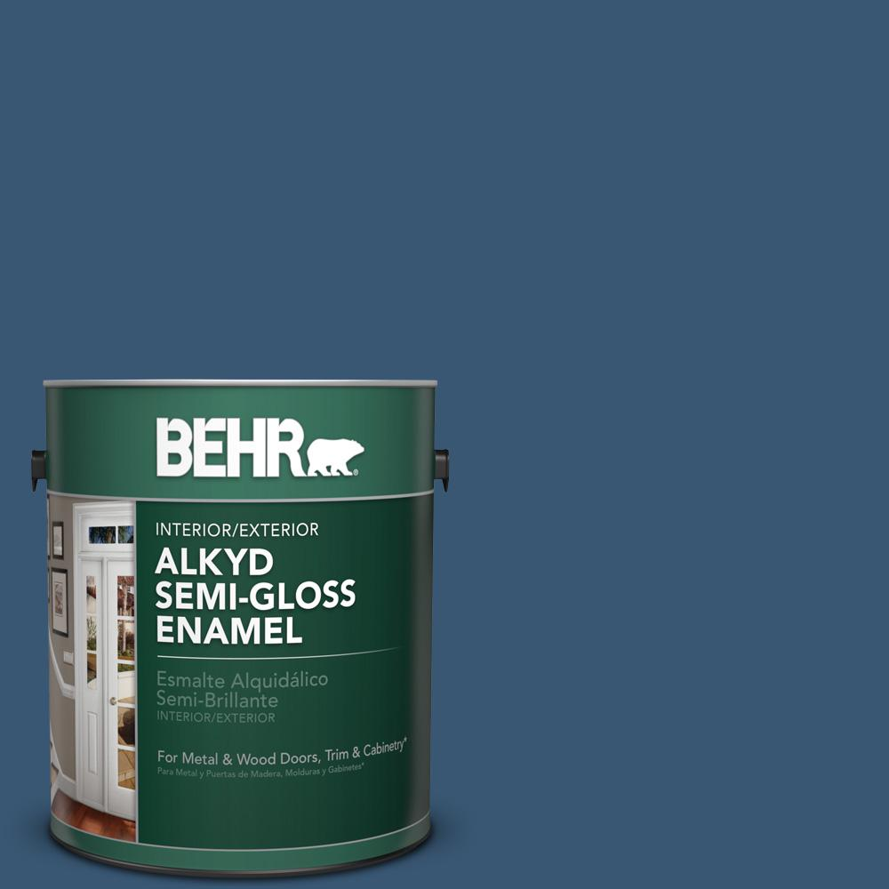 1 gal. #M500-6 Express Blue Semi-Gloss Enamel Alkyd Interior/Exterior Paint