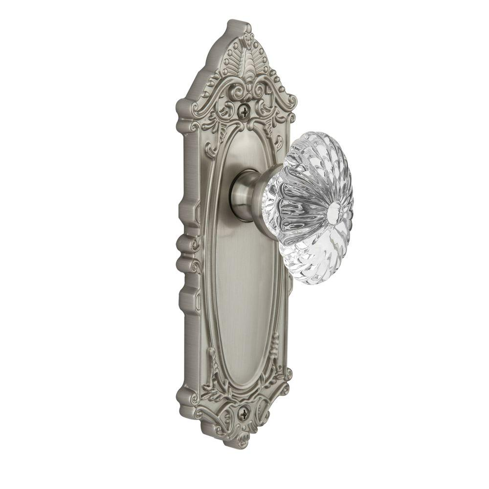 null Grandeur Satin Nickel Double Dummy Grande Victorian Plate with Burgundy Crystal Knob