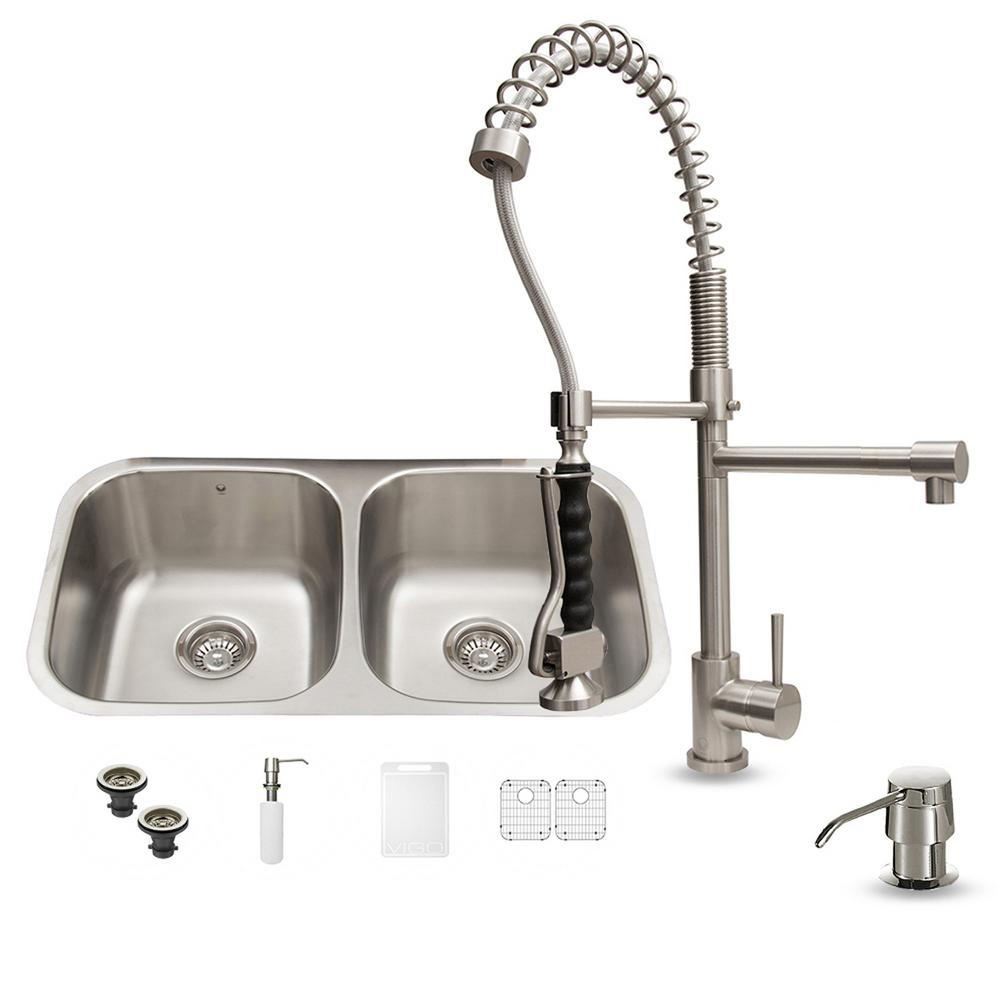 VIGO All-in-One Undermount Stainless Steel 32 in. Double Basin Kitchen Sink in Stainless Steel