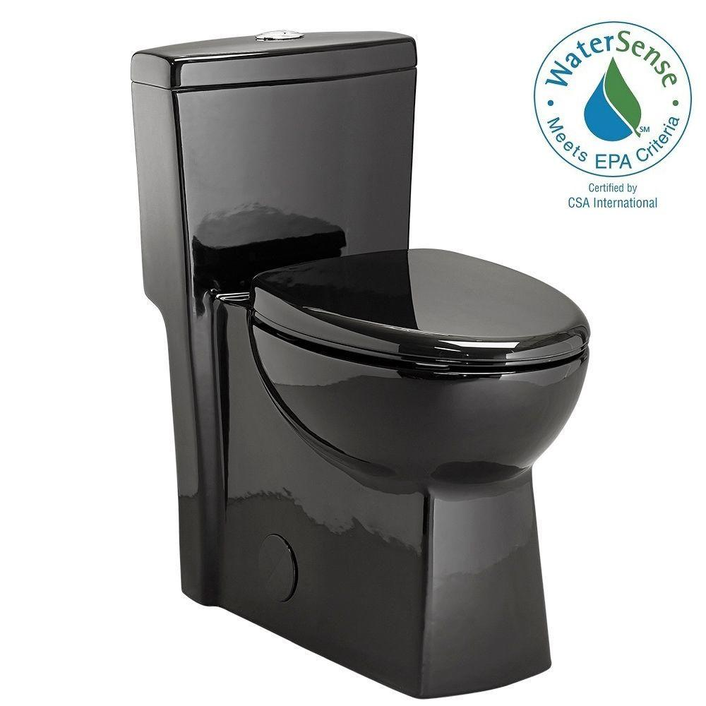 1-piece 1.28 GPF Dual Flush Elongated Toilet in Black