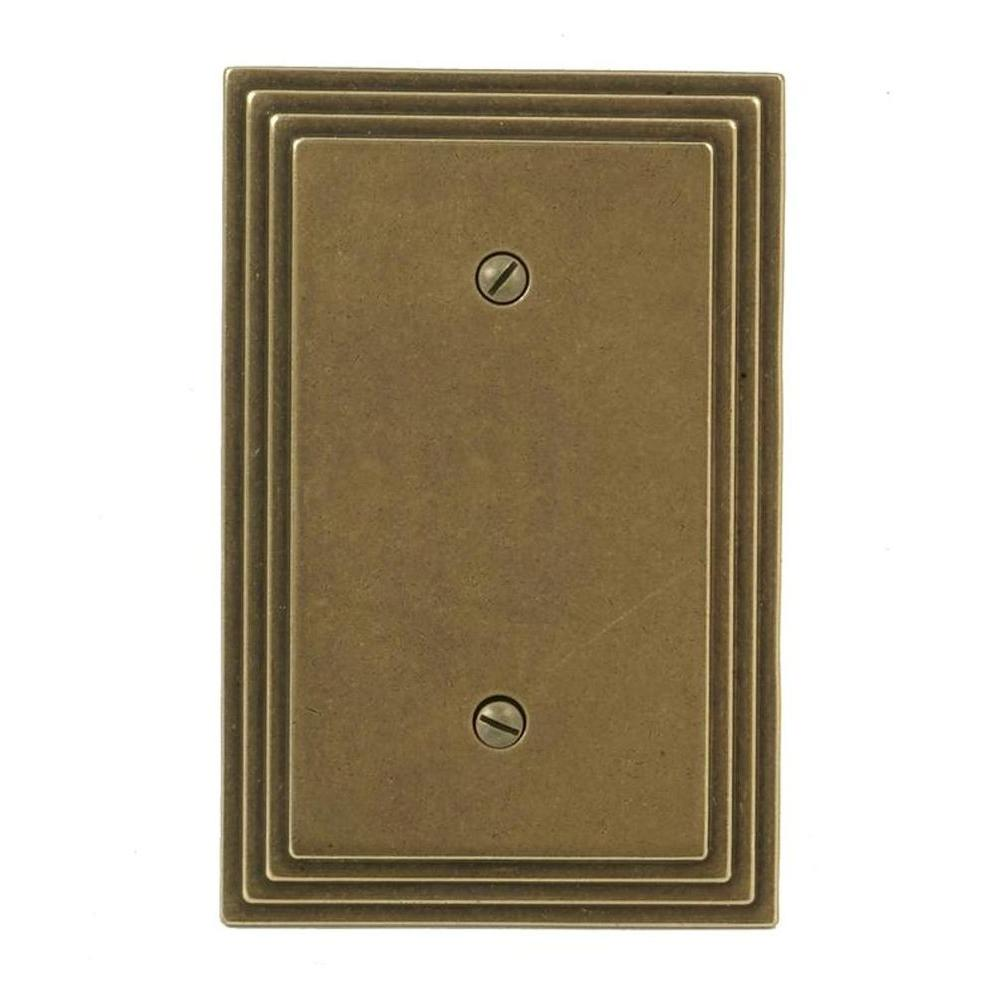 Amerelle Steps 1 Blank Wall Plate - Rustic Brass-84BRB - The