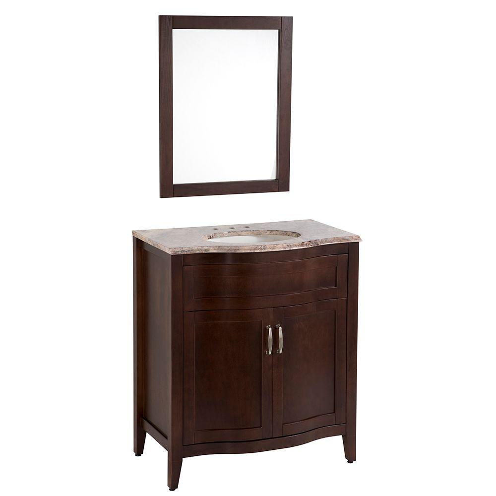 Home Decorators Collection Prado 30 in. Vanity with Stone Effects Vanity Top in Cold Fusion and Wall Mirror in Chestnut