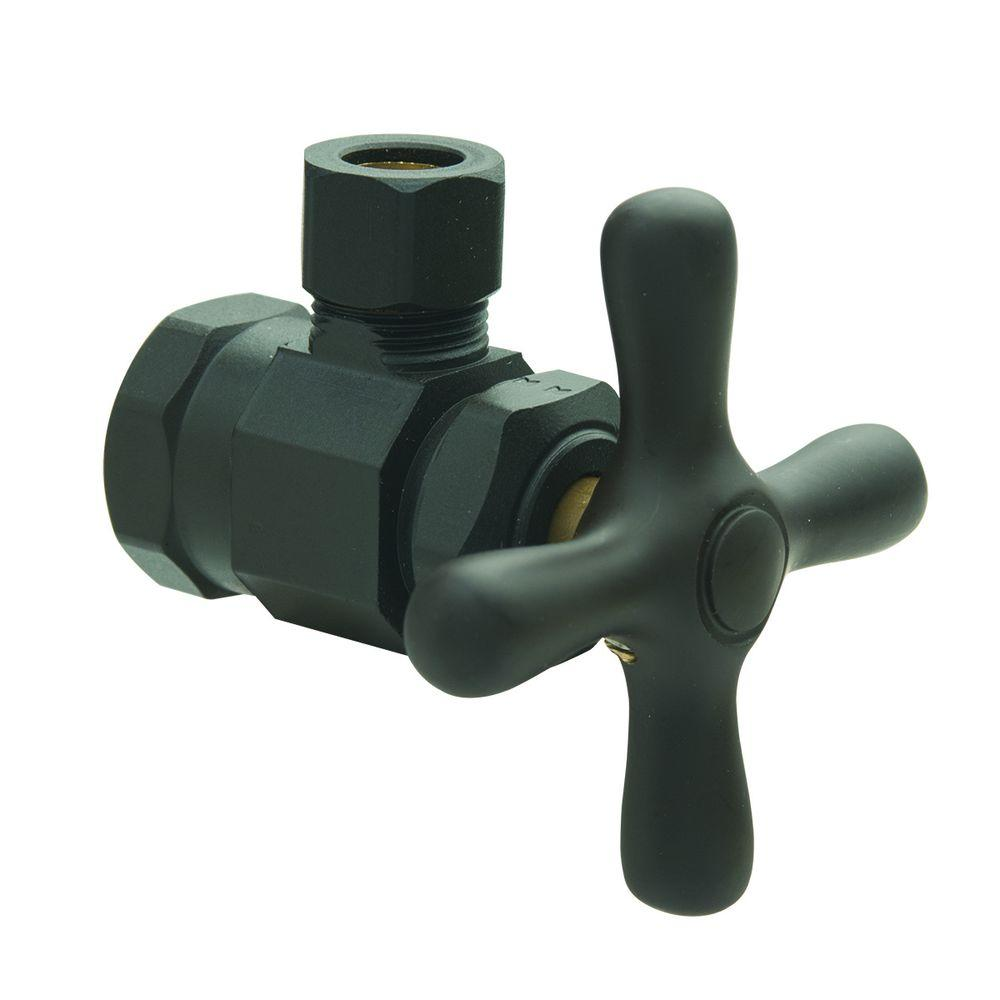 BrassCraft 1/2 in. FIP Inlet x 3/8 in. O.D. Comp Outlet Multi-Turn Angle Valve with Cross Handle in Oil Rubbed Bronze