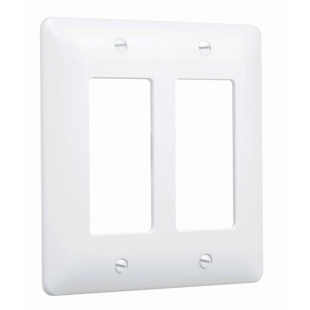 2 Gang Decorator Maxi Plastic Wall Plate - White Textured (5-Pack)