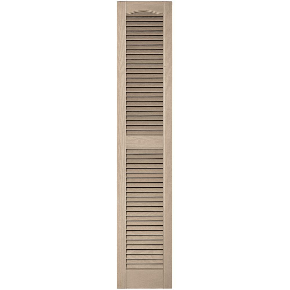 Louvered: Builders Edge Shutters & Hardware 12 in. x 60 in. Louvered Vinyl Exterior Shutters Pair in #023 Wicker, 023 Wicker 010120060023
