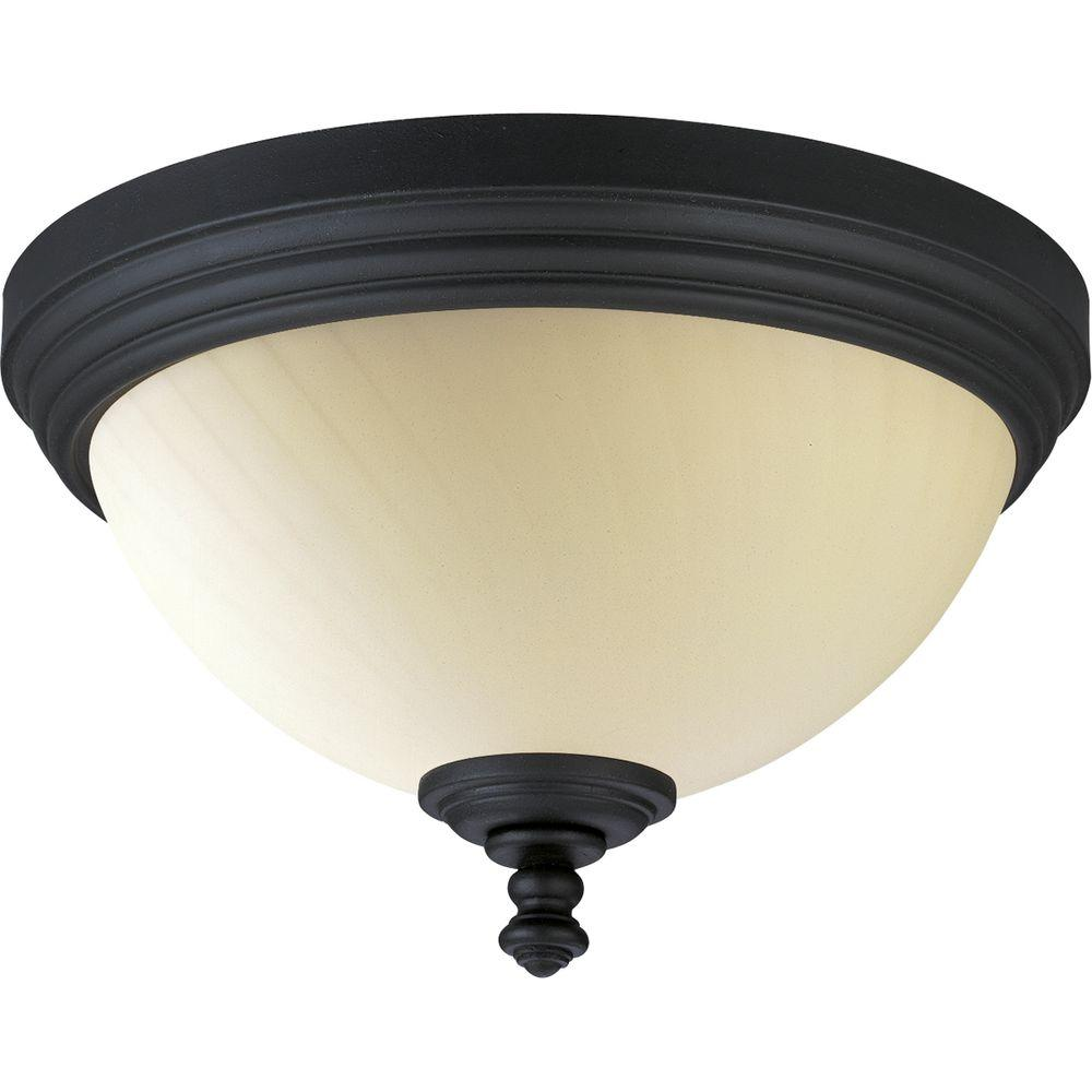 Thomasville Lighting Meeting Street Collection Forged Black 2-light Flushmount-DISCONTINUED