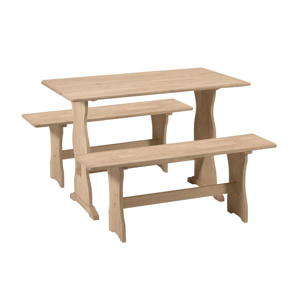 Country Chic 3-Piece Unfinished Wood Dining Set