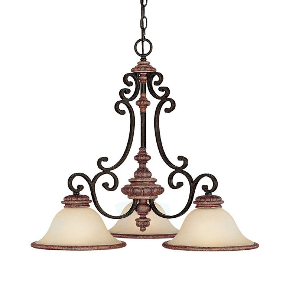 Filament Design 3-Light Iron and Umber Chandelier with Mist Scavo Glass-DISCONTINUED