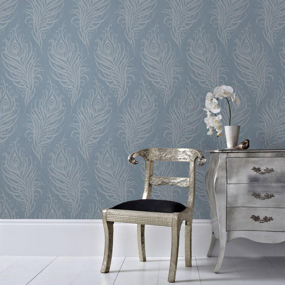 Graham & Brown 56 sq. ft. Blue Quill Wallpaper-33-321 - The