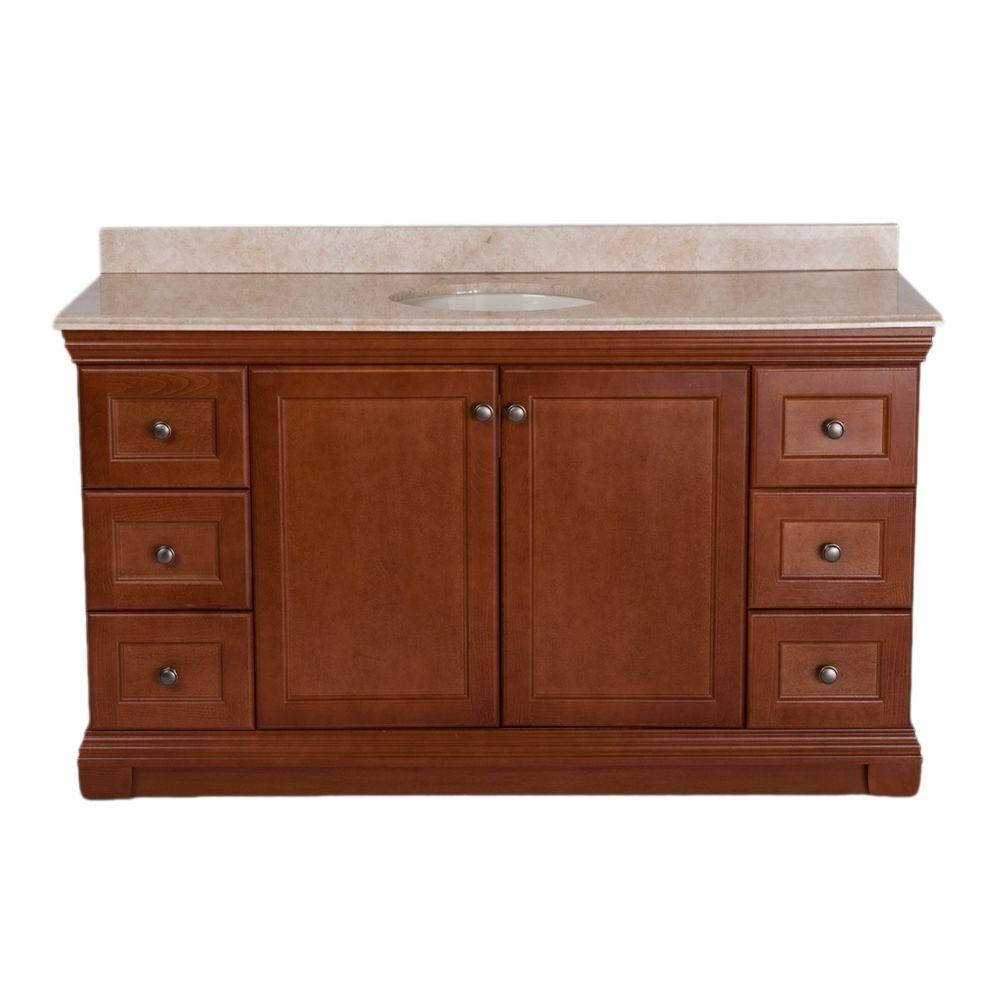 St. Paul Brentwood 60 in. Vanity in Amber with 61 in. Stone Effects Vanity Top in Oasis