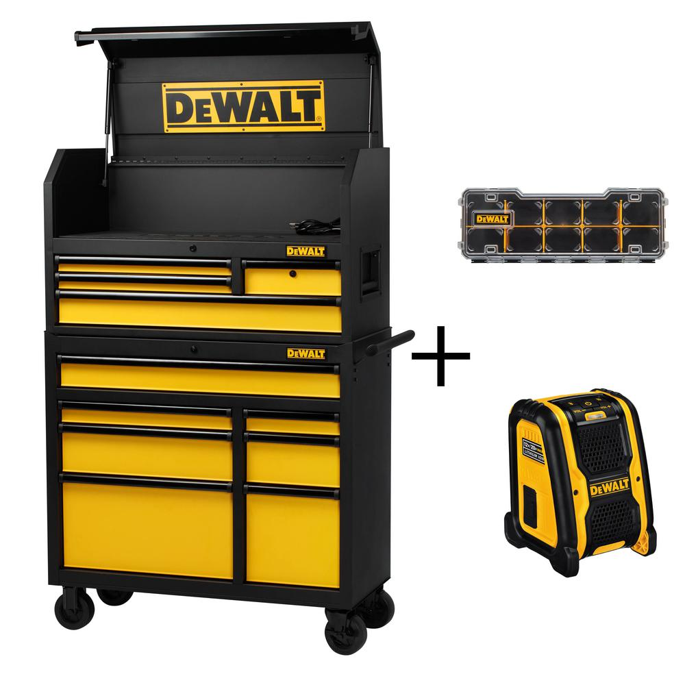 40 in. 11-Drawer Tool Chest and Rolling Tool Cabinet Set, Black