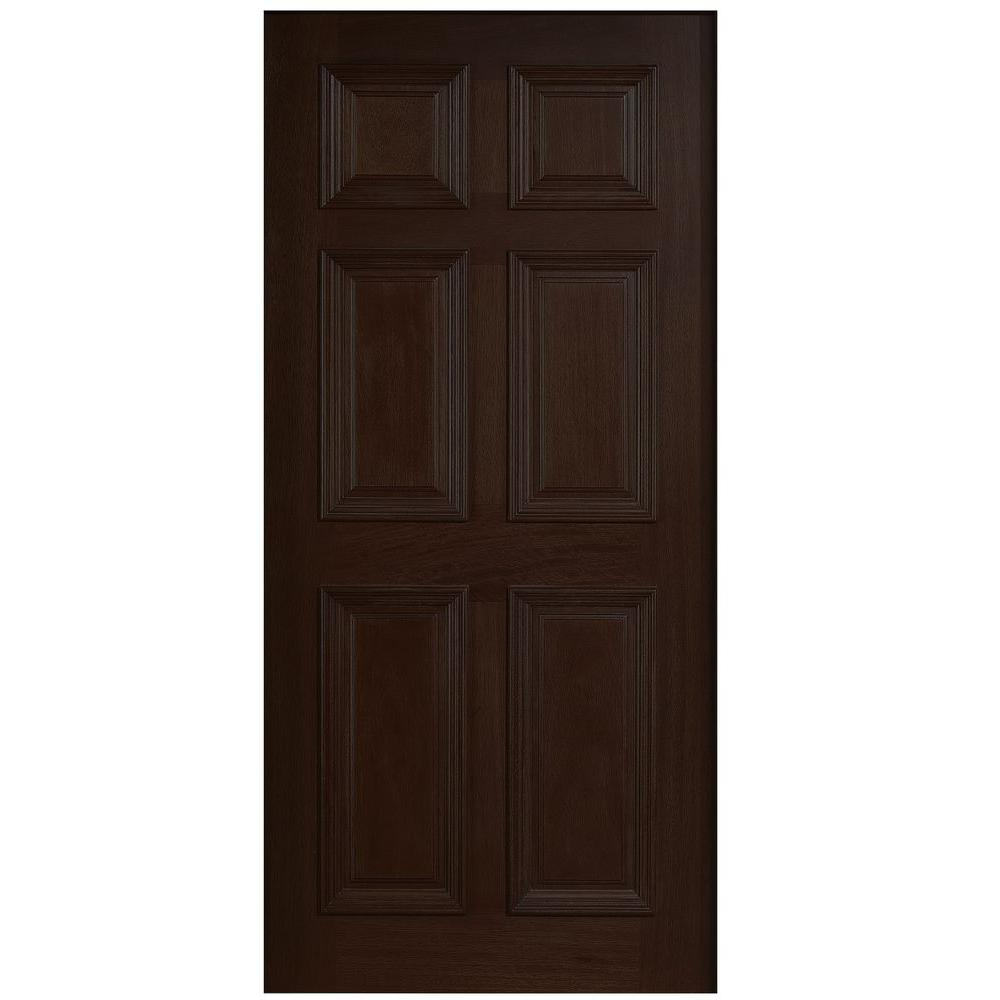 Main Door 36 in. x 80 in. Solid Mahogany Type 6-Panel Prefinished Espresso Wood Front Door Slab