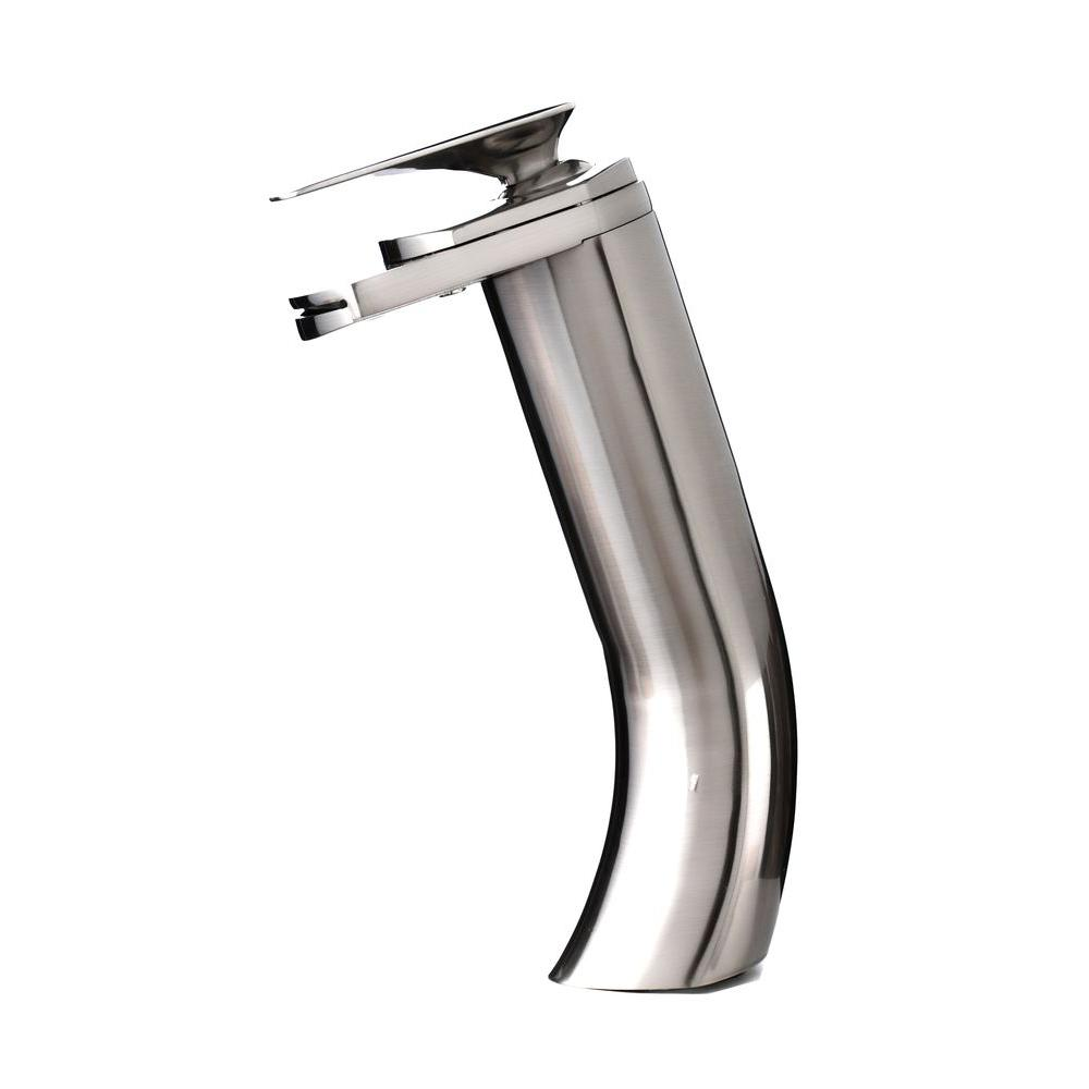 Kokols single hole 1 handle vessel waterfall bathroom faucet in brushed nickel 81h18 bn the for Single hole waterfall bathroom faucet