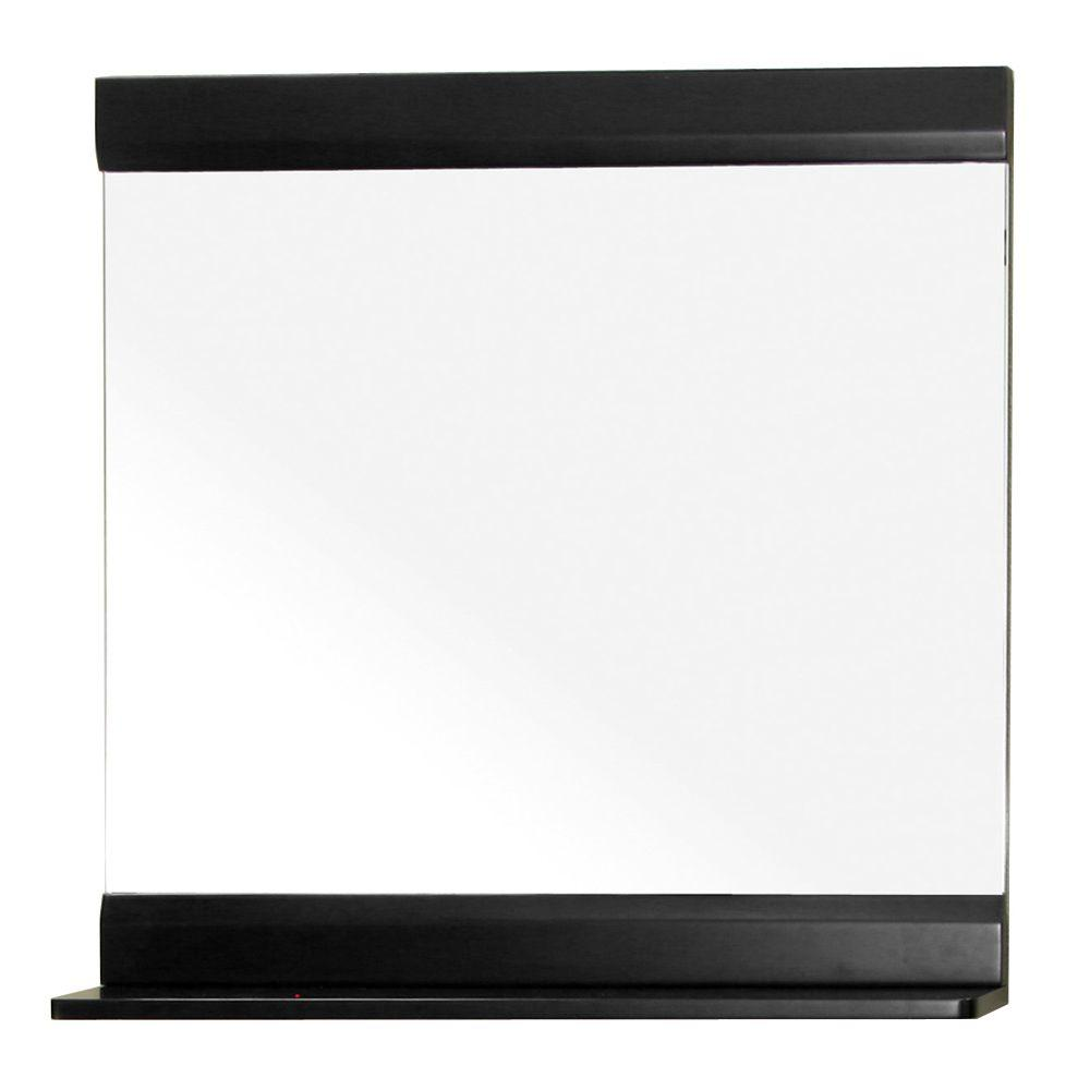 Bellaterra Home Aster 33 in. L x 32 in. W Solid Wood Frame Wall Mirror in Black