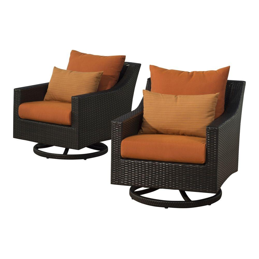 RST Brands Deco All-Weather Wicker Motion Patio Lounge Chair with Tikka