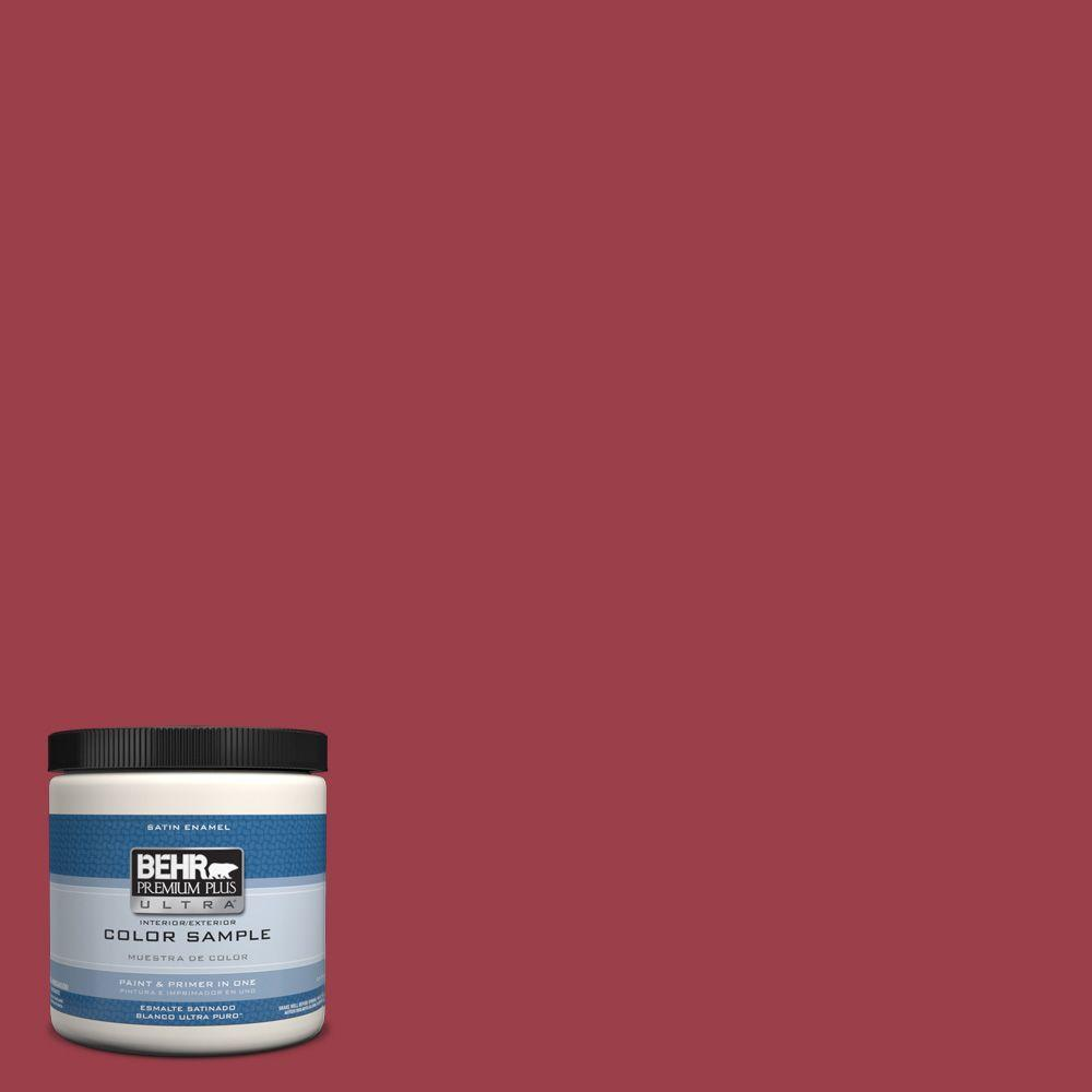 BEHR Premium Plus Ultra 8 oz. #hdc-CL-01 Timeless Ruby Interior/Exterior Satin Enamel Paint Sample