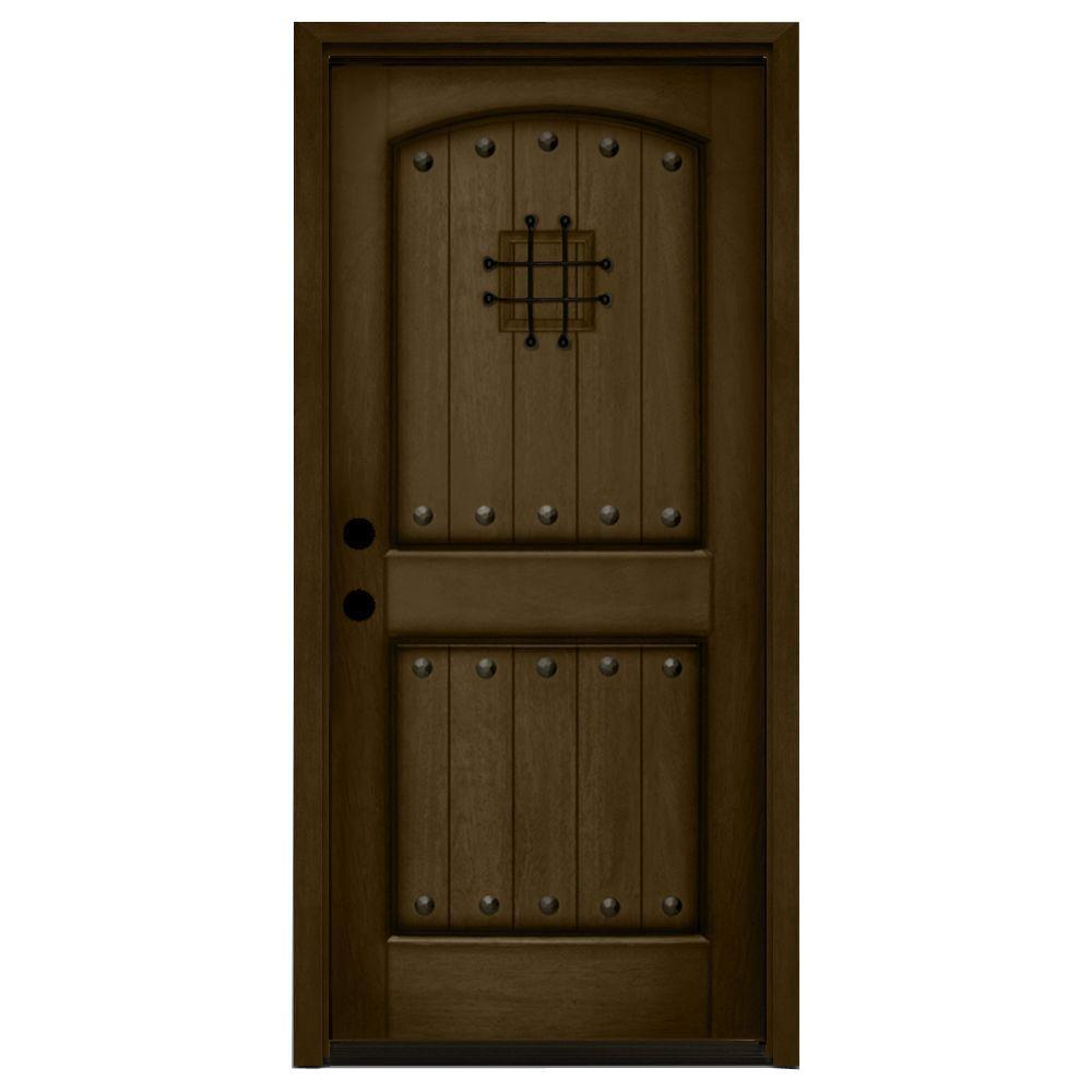 36 in. x 80 in. Rustic 2-Panel Speakeasy Stained Mahogany Wood