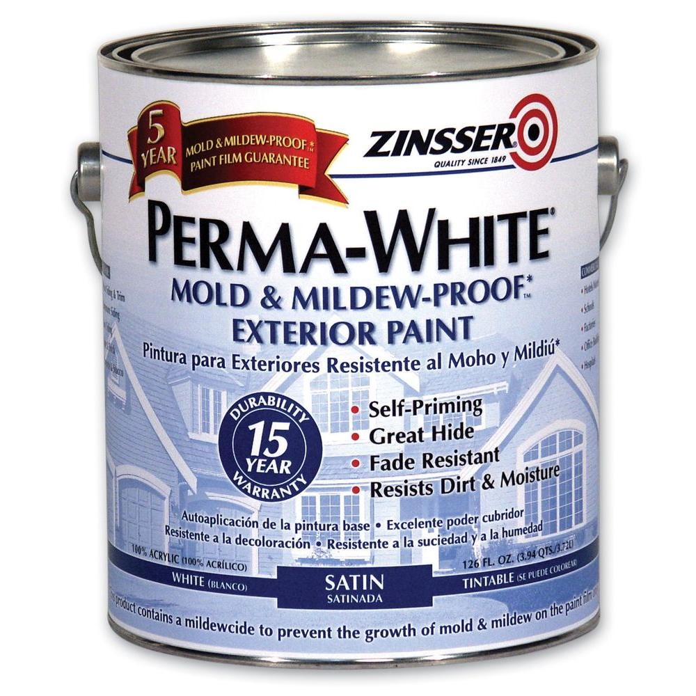 Zinsser 1 gal. Perma-White Mold and Mildew-Proof White Satin Exterior Paint (Case of 4)
