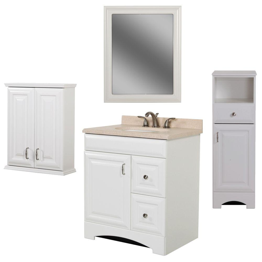 St. Paul Providence Bath Suite with 30 in. Vanity, Vanity Top, Over the John, Wall Mirror and Linen Tower in White-DISCONTINUED