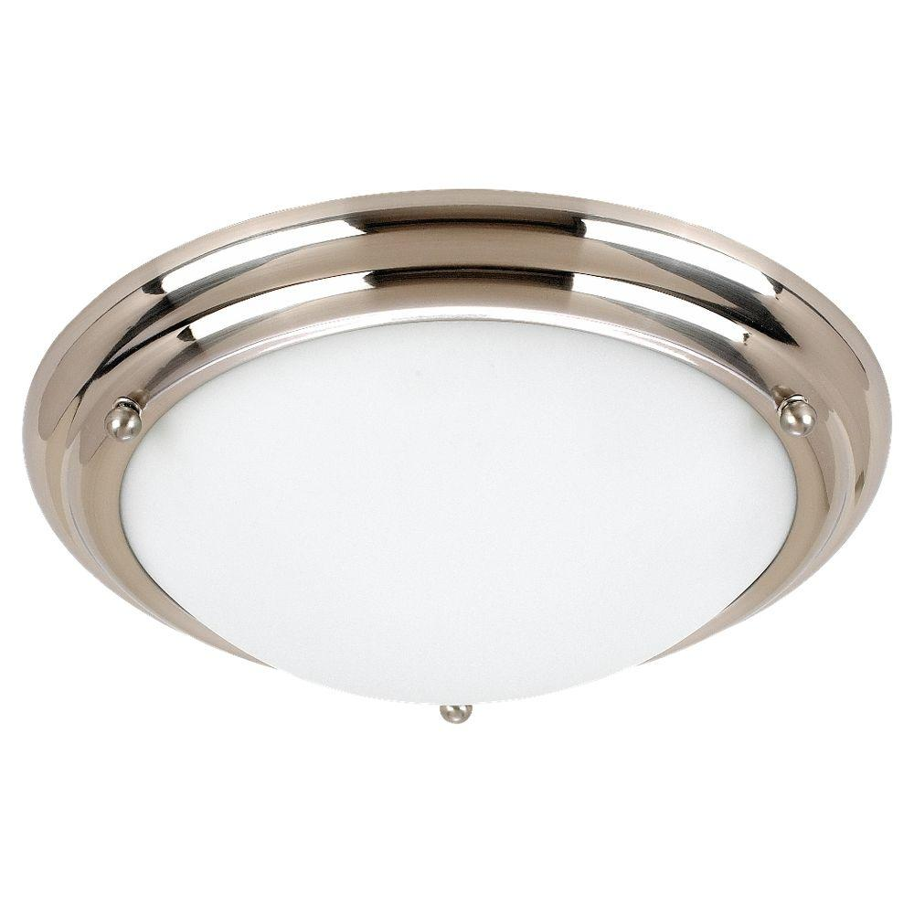 Sea Gull Lighting Centra 2-Light Brushed Stainless Flushmount