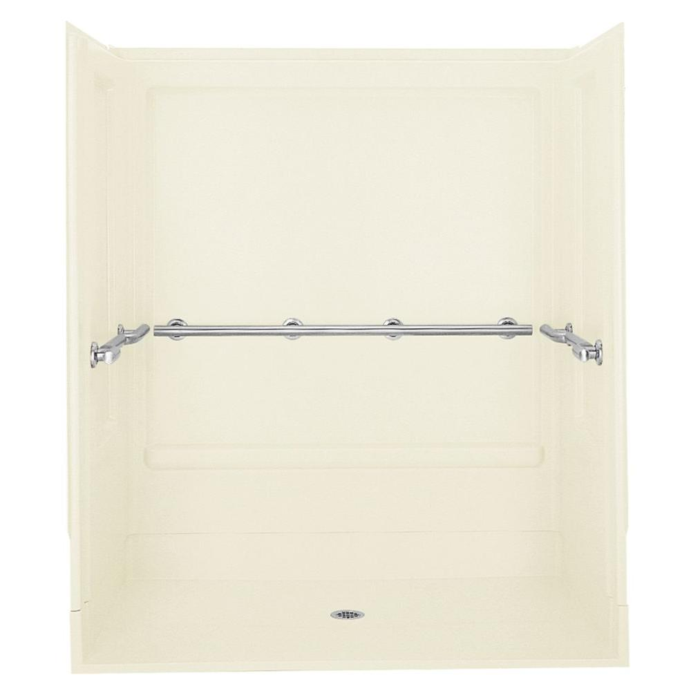 STERLING Roll-In 39-3/8 in. x 63-1/4 in. x 73-1/4 in. Sectional Shower Stall in Biscuit
