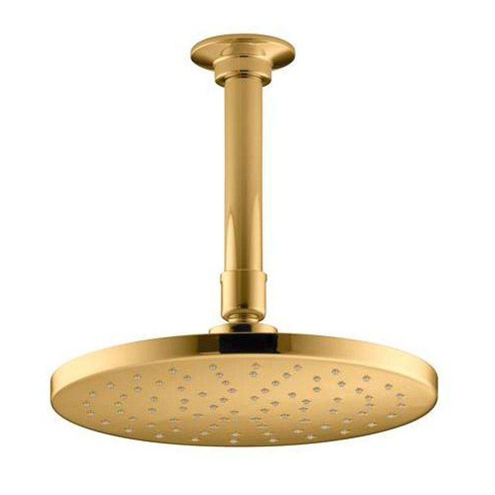 KOHLER Contemporary 1-Spray 8 in. Round Rainhead with Katalyst Spray Technology in Vibrant Modern Polished Gold-DISCONTINUED