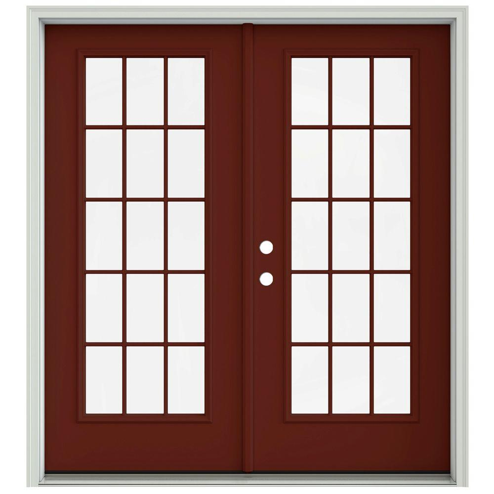 Jeld wen 72 in x 80 in mesa red prehung right hand for Prehung french doors