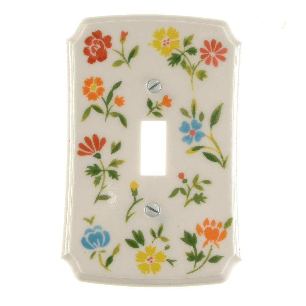 Flower Toss 1 Gang Toggle Switch Wall Plate - Green