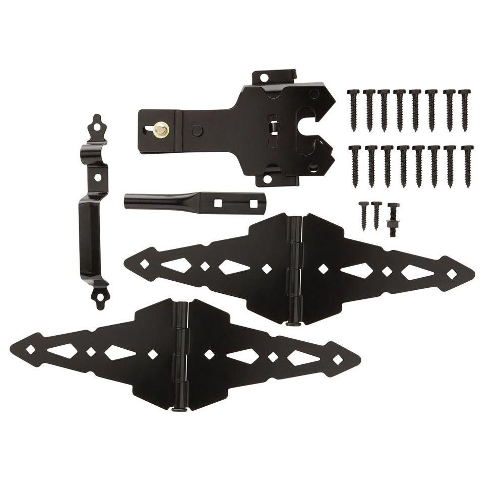 Everbilt Black Deluxe Latch Gate Set-18117 - The Home Depot