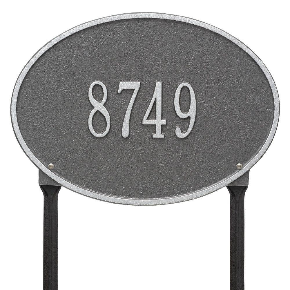 Hawthorne Standard Oval Pewter/Silver Lawn 1-Line Address Plaque