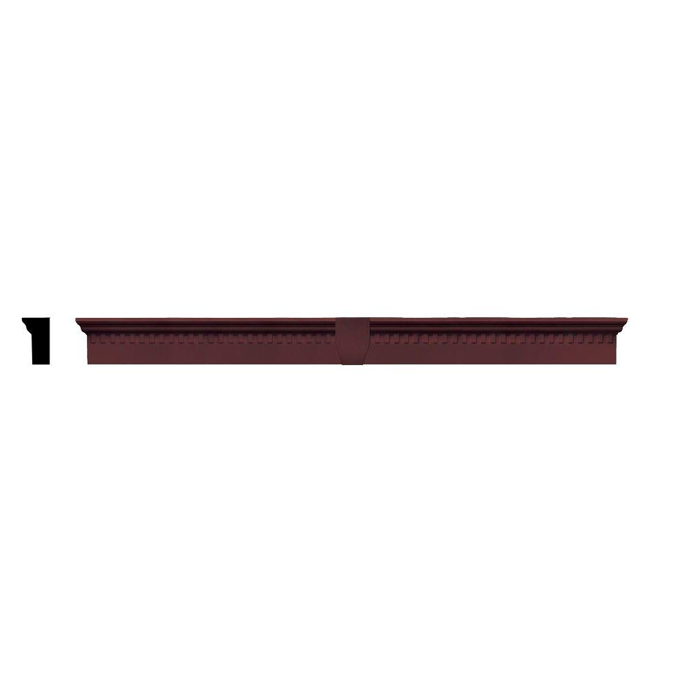 Builders Edge 2-5/8 in. x 6 in. x 73-5/8 in. Composite Classic Dentil Window Header with Keystone in 167 Bordeaux Red