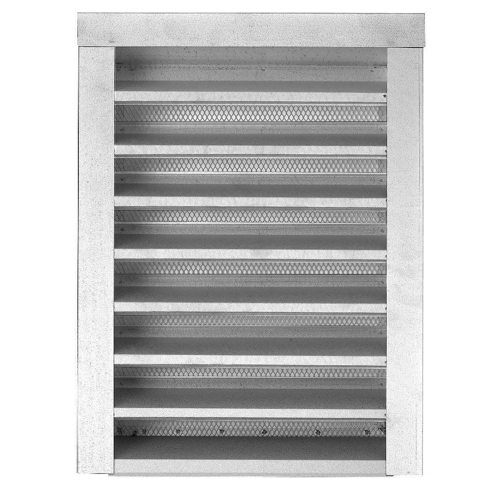 14 in. x 18 in. Galvanized Gable Louver Vent Flange Front