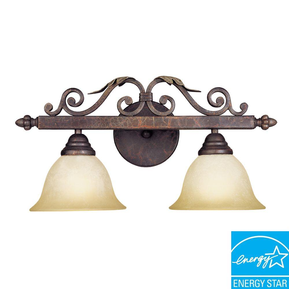 World Imports Olympus Tradition Collection 2-Light Crackled Bronze with Silver Bath Bar Light