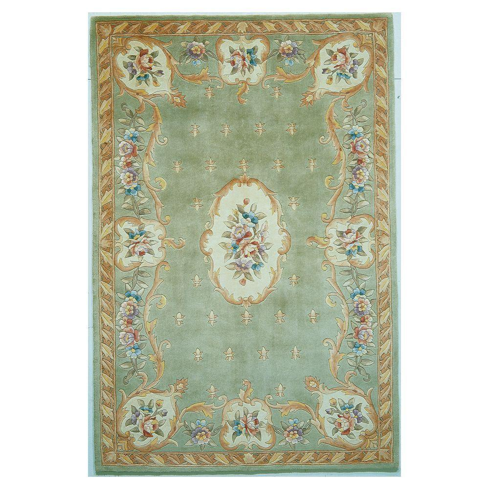 Kas Rugs Classy Aubusson Sage 2 ft. 6 in. x 4