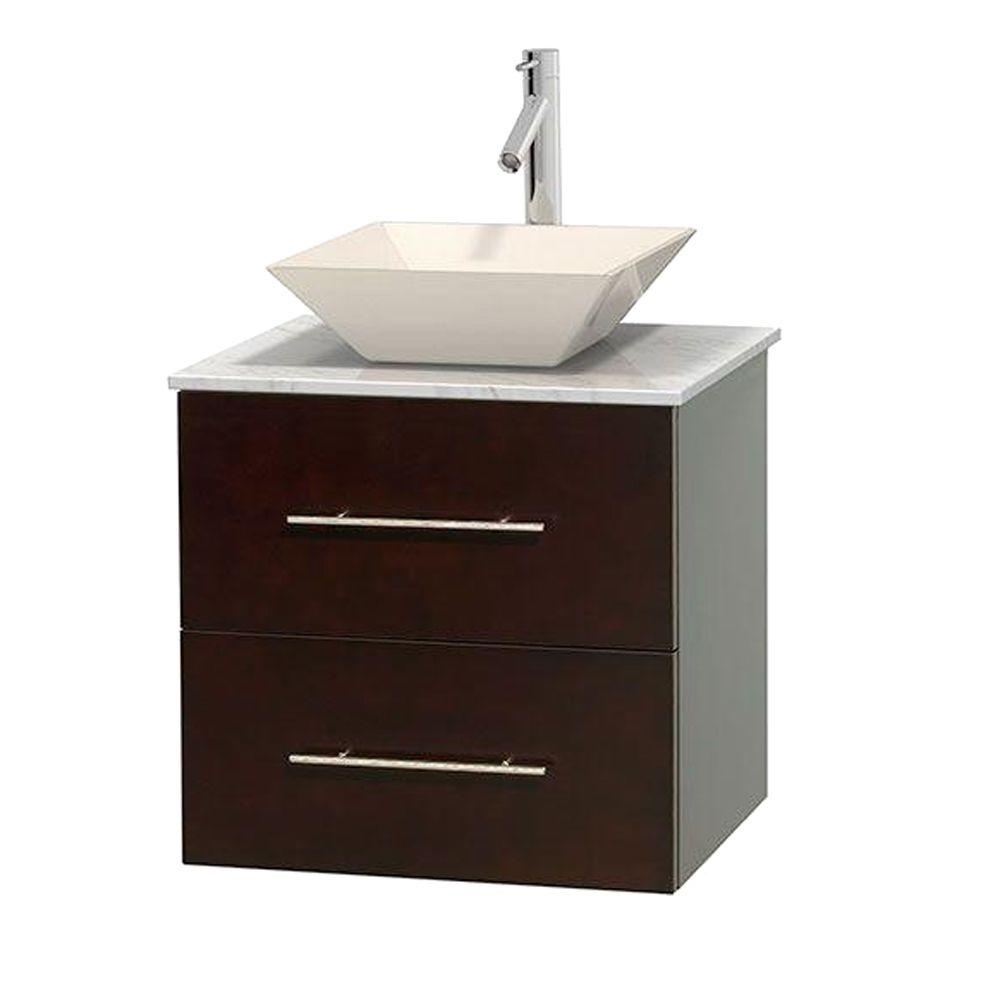 Wyndham Collection Centra 24 in. Vanity in Espresso with Marble Vanity Top in Carrara White and Bone Porcelain Sink