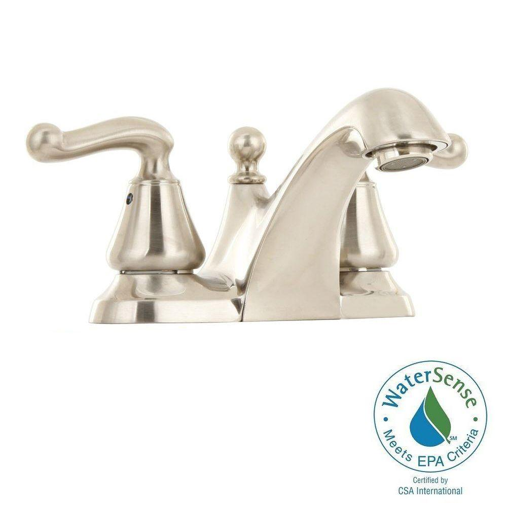 American Standard Symphony 4 in. Centerset 2-Handle Low-Arc Bathroom Faucet in Satin Nickel