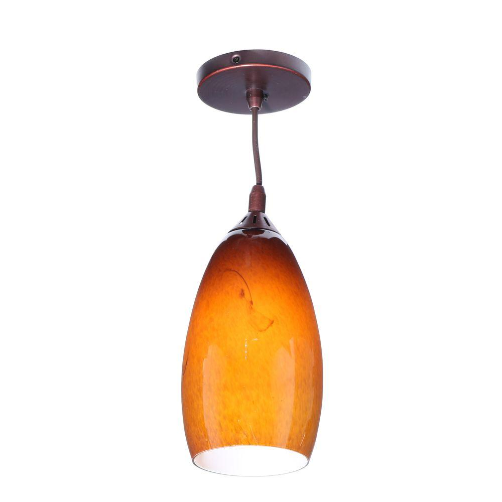 Home Decorators Collection 1-Light Caramel Brown Ceiling Leopard Pendant with Swirl Glass Shade