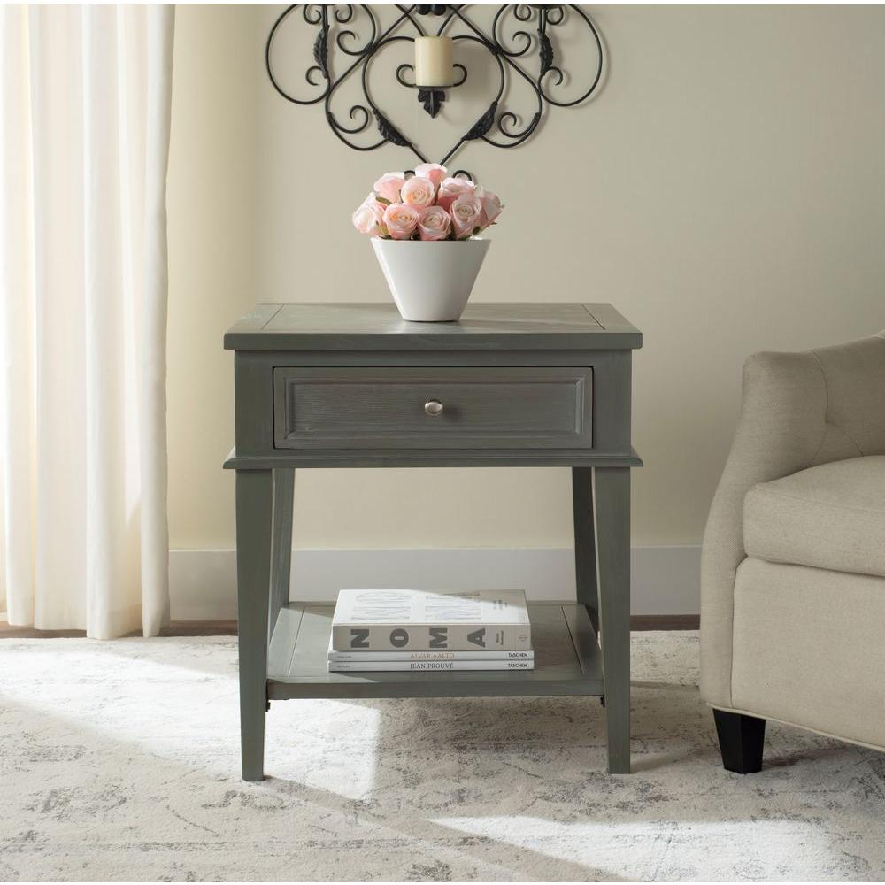 Hooper Storage Coffee Table Natural Ash: Safavieh Manelin Ash Gray Storage End Table-AMH6640C