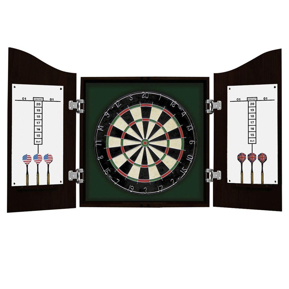 Hathaway Centerpoint Solid Wood Dart Cabinet Set - Ebony Finish-DISCONTINUED