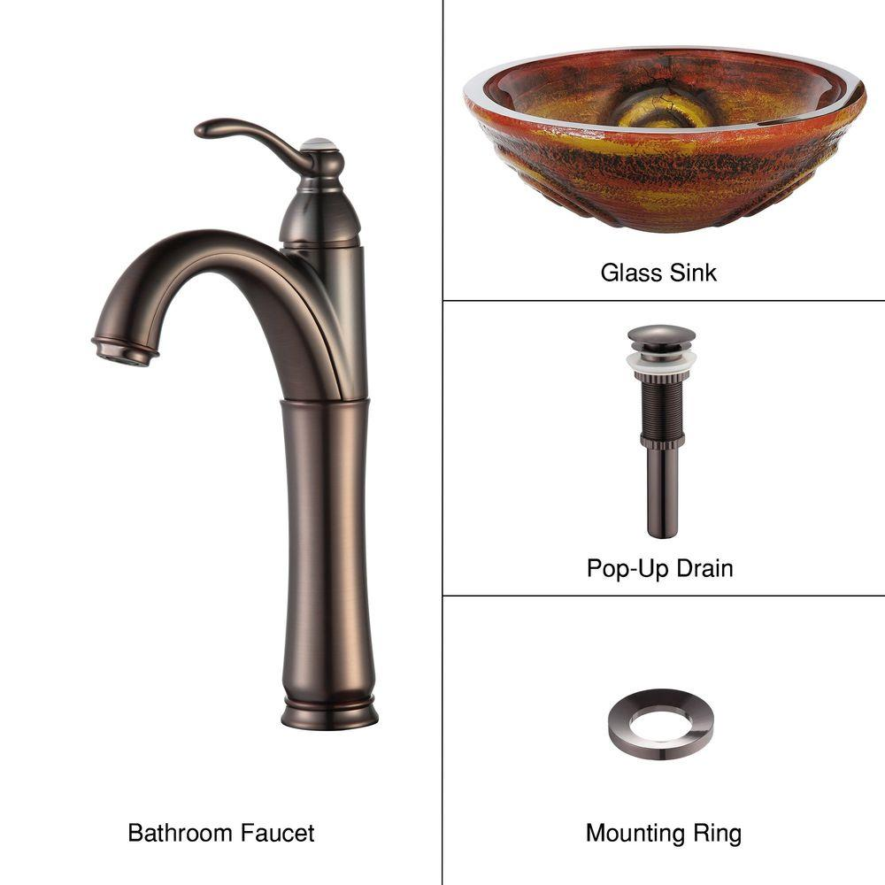 KRAUS Vessel Sink in Tiger Eye with Riviera Faucet in Oil Rubbed Bronze-DISCONTINUED
