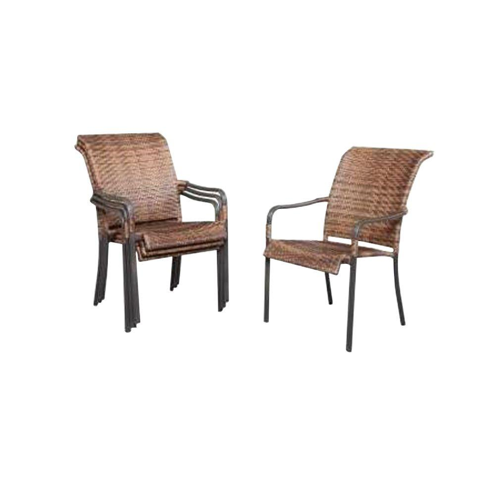 Manila Bay Commercial Contract Grade Woven Stack Patio Chair (4 Pack)